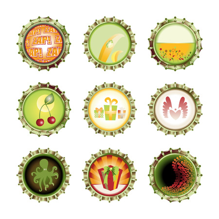 Vector illustration of bottle caps set, decorated with different objects. Stock Vector - 8872008