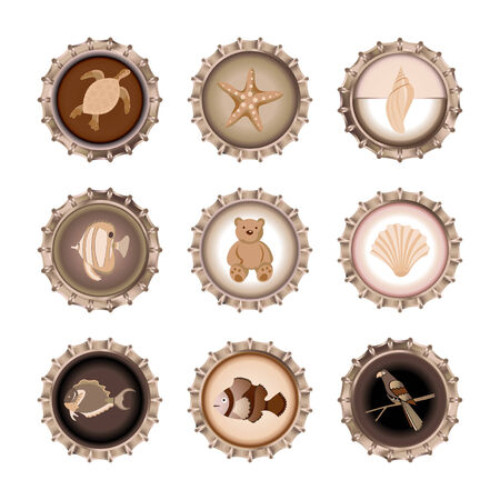 Vector illustration of bottle caps set, decorated with different objects in retro style. Vector