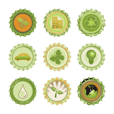 Vector illustration of bottle caps set, decorated with different objects related to enviroment and ecology Vector