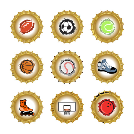 Vector illustration of bottle caps set, decorated with different objects related to sport. Vector