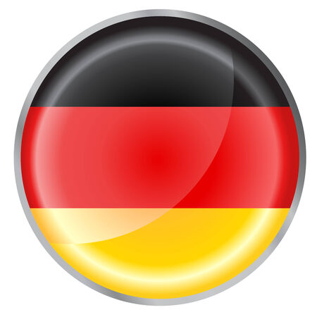 Vector illustration of round button decorated with the flag of germany Vector