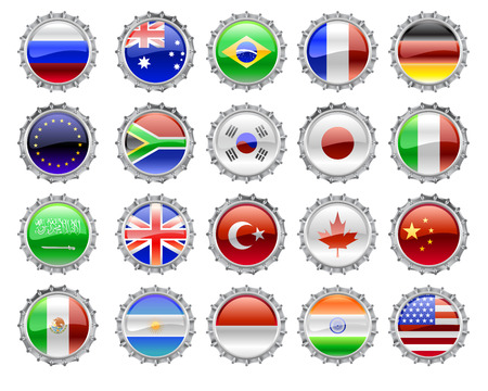 Vector Illustration of round buttons set, decorated with the flags of the world  Vector
