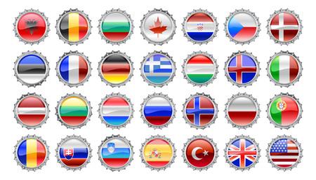 slovakian: Vector Illustration of round bottle caps set
