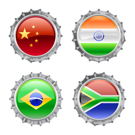 Vector Illustration of round bottle caps set, decorated with the flags of the world  Vector