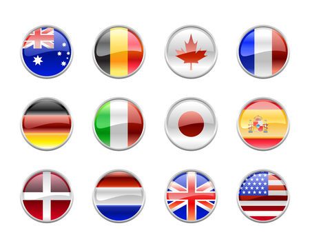 belgium flag: Vector Illustration of round buttons set, decorated with the flags of the world