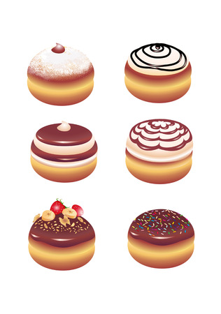 doughnut: Vector illustration of different kinds donut icons. Good for funny greeting cards