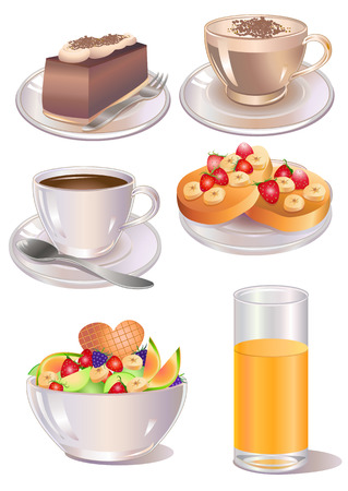 Vector illustration of different  kind of desserts