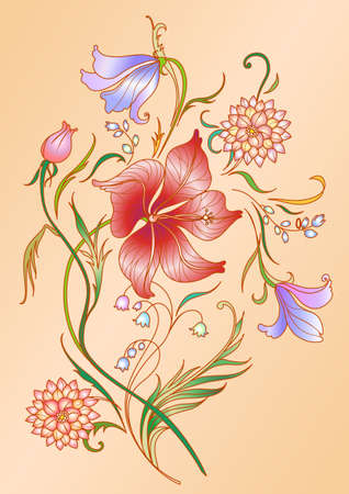 biege: Vector Illuctration of colored floral elements on the biege background.