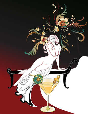 Vector Illuctration of Abstract beautiful girl silhoette, holding the cocktail with flowers in hair Vector