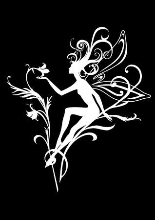 Vector Illustration Silhouette of funky fairy on flower pattern design Stock Vector - 9036662