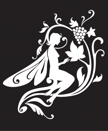 Vector Illustration Silhouette of funky fairy on flower pattern design Stock Vector - 9036681