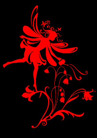 Vector Illustration Silhouette of funky fairy on flower pattern design Stock Vector - 9036663
