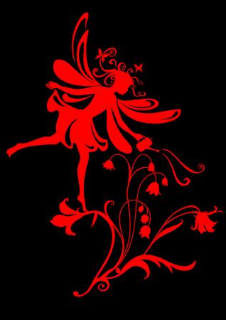 Vector Illustration Silhouette of funky fairy on flower pattern design Stock Vector - 9036663