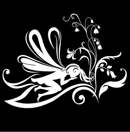 Vector Illustration Silhouette of funky fairy on flower pattern design Stock Vector - 9036661