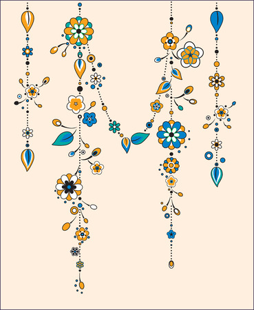 chimes: Vector Illustration of Decorative Wind Chimes with floral ornament design