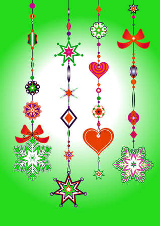 tinkle: Vector Illustration of Decorative Wind Chimes with fanky snowflake shapes design Illustration