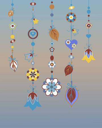 Vector Illustration de carillons éoliens décoratifs avec design ornement floral