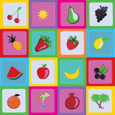 Vector Illustration of Seamless sweet and juicily Fruit Background Vector