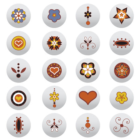 Vector Illustration of round buttons with retro funky elements. Vector