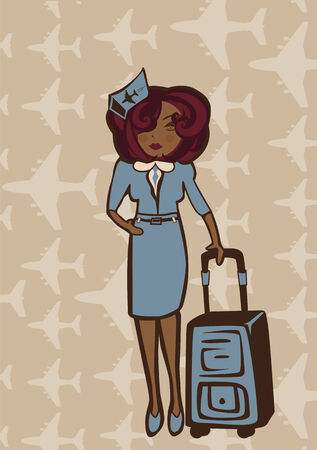Vector retro illustration of  a stewardess holding a flight-bag  Vector