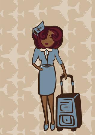 Vector retro illustration of  a stewardess holding a flight-bag  Vector
