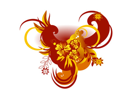Vector illustration of Decorative elements with hibiscus against stylized waves. Vector