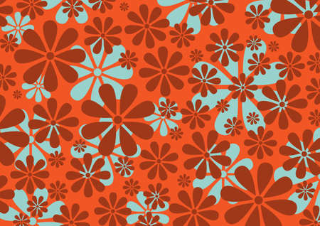 illustraition: illustraition of red  Retro Daisy Pattern  background Stock Photo