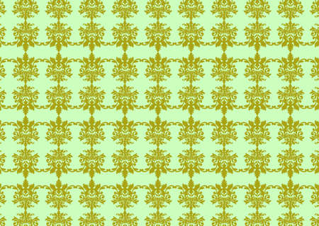 illustraition: illustraition of green retro abstract floral Pattern background