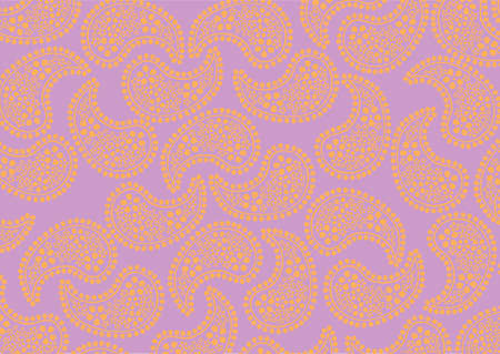 illustraition of repeating orange paisley pattern on violet background photo