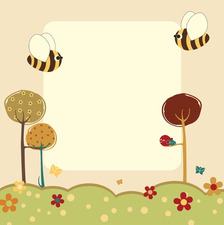 Vector Illustration of retro nature design greeting card with copy space for your text Vector