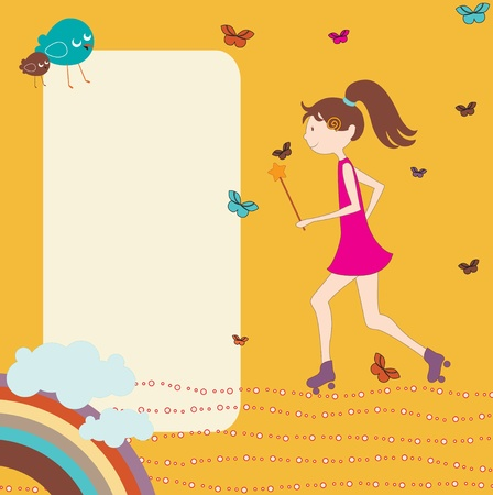 rollerblades: Vector Illustration of retro design greeting card with little girl on rollerblades and copy space for your text Illustration