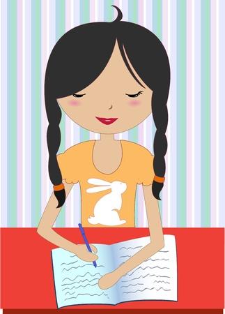 escribiendo: Ilustraci�n vectorial de ni�a sentado en un escritorio y escribir
