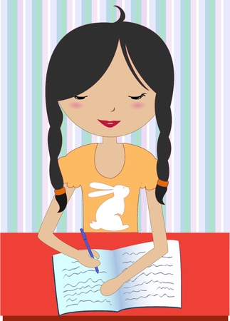 Vector Illustration of little girl sitting at a desk and writing Vector