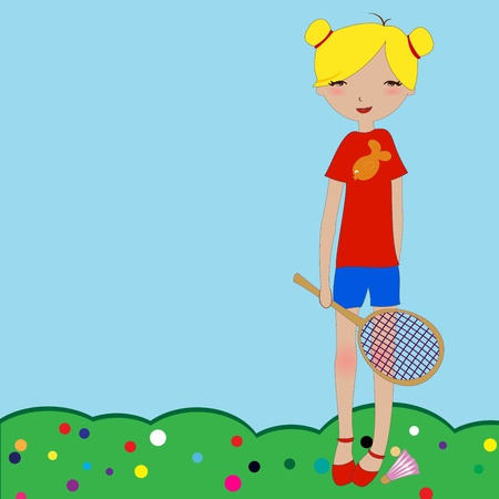 Vector Illustration of the little girl playing outdoors. Vector