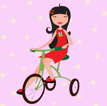 Vector Illustration of funky little girl riding a bicycle Vector