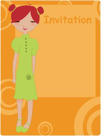 anunciar: Ilustraci�n vectorial de marco de invitaci�n cool con ni�a cobarde