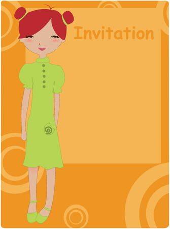announce: Vector Illustration of cool invitation frame with funky Young girl