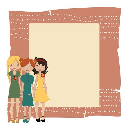 welcome party: Vector Illustration of cool invitation banners with funky Young girls