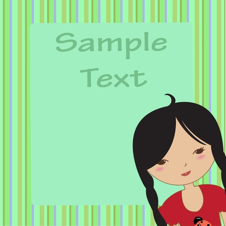 cartoon frame: Vector Illustration of cool invitation frame with funky Young girl