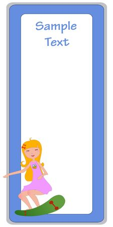 Vector Illustration of cool invitation frame with funky Young girl Vector