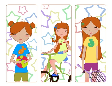 activity exercising: Vector Illustration of the cute little girls during different summer activities � playing the ball, riding the bicycle, holding the tennis racket.  Illustration