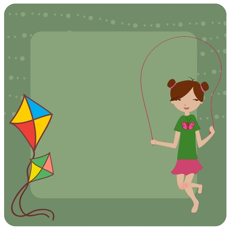 jump rope: Vector Illustration of cool invitation frame with funky Young girl