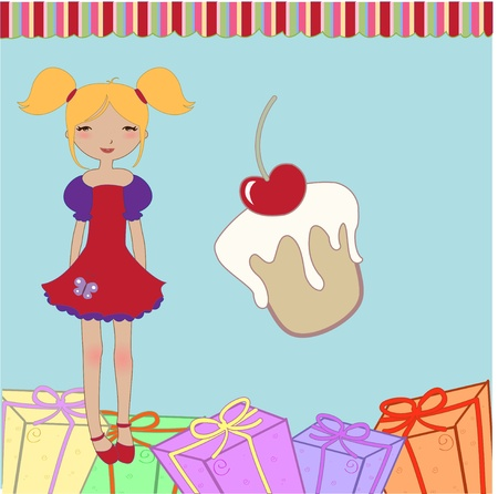 Vector Illustration of funny little girl with present boxes and sweet cake. Vector