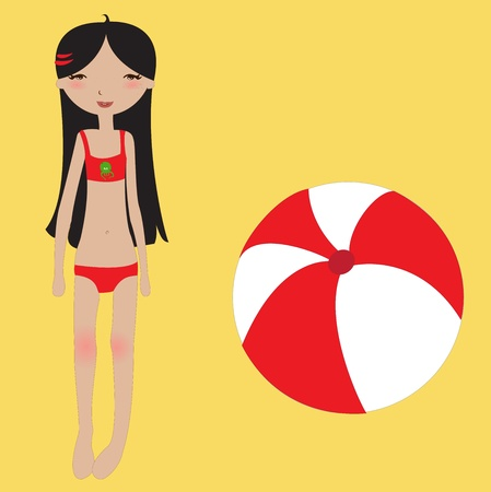 enfant maillot de bain: Vector Illustration of funny summer background  with the little girl and the ball.