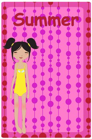 Vector Illustration of cute summer background  with pretty little girl Vector