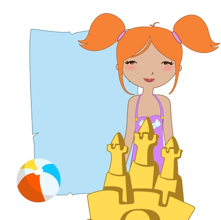 Vector Illustration of funny Kiddie style design summer background  with the little girl and the sandcastle.