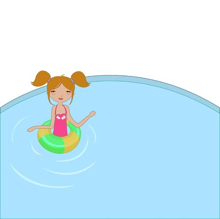 baby swim: Vector Illustration of funny Kiddie style design summer background with the little girl in the water Illustration