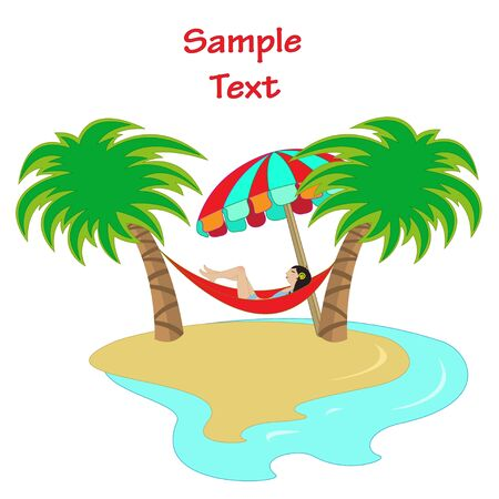 Vector illustration of a girl lying down in a hammock between two palm trees Vector