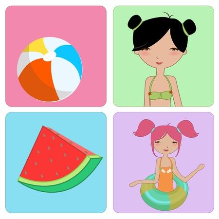 kiddie: Vector Illustration of funny Kiddie style design summer background