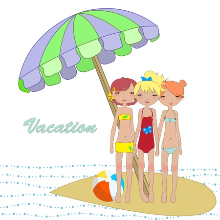 enfant maillot de bain: Vector Illustration of cool Kiddie style design summer background with three funny girls Illustration